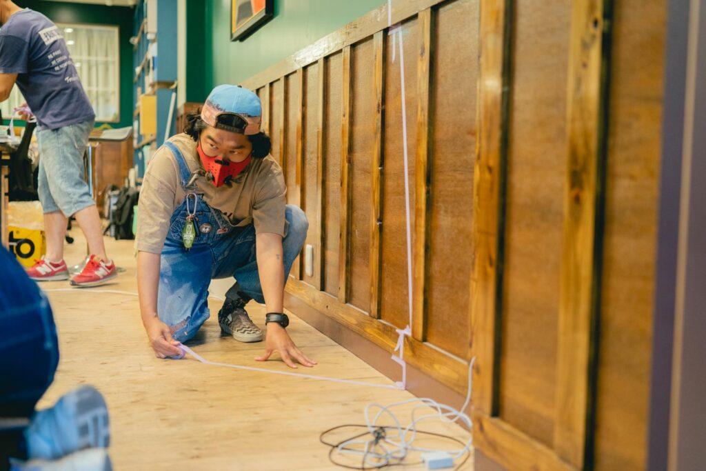 I.D.L COMPANYの事務所に塗装 トリックアート作り 愛知県江南市の建設会社・リノベーション